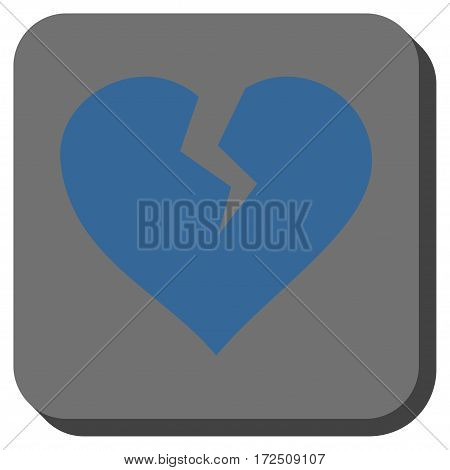 Heart Break interface button. Vector pictograph style is a flat symbol inside a rounded square button cobalt blue and gray colors.