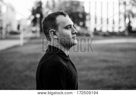 Black And White Brutal Portrait Of A Fashionable Man Outdoor In The City