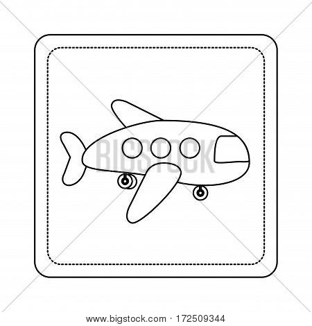 contour toy airplane fly picture icon, vector illustration design