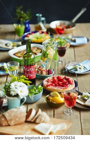 Fresh slow food on served table