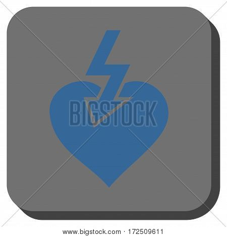 Heart Shock Strike interface toolbar icon. Vector pictograph style is a flat symbol centered in a rounded square button cobalt blue and gray colors.