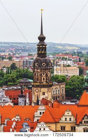 View of Dresden from the observation tower in rainy weather at June 7