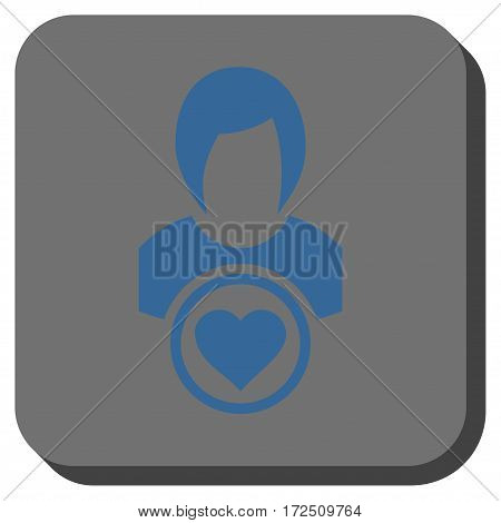 Lady Love square button. Vector pictogram style is a flat symbol centered in a rounded square button cobalt blue and gray colors.