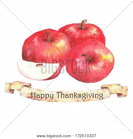 Watercolor autumn harvest. Isolated hand-drawn illustration of ripe red apples. Thanksgiving day card template.