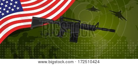 USA United States of America military power army defense industry war and fight country national celebration with gun soldier jet fighter and radar vector