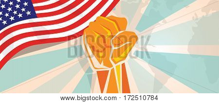 USA United States of America fight and protest independence struggle rebellion show symbolic strength with hand fist illustration and flag vector