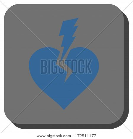 Love Heart Crash rounded icon. Vector pictogram style is a flat symbol in a rounded square button cobalt blue and gray colors.