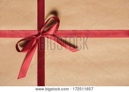 Gift Box With Satin Red Ribbon And  Bow