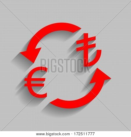 Currency exchange sign. Euro and Turkey Lira. Vector. Red icon with soft shadow on gray background.