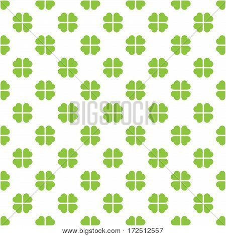 Abstract vector seamless pattern mosaic of green four leaf clover in diagonal arrangement on white background. Saint Patric day and natural simple design wallpaper.