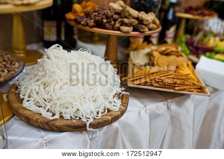 Cut Squid Meat With Salted Sticks On Wedding Reception.
