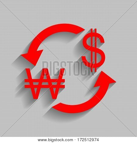 Currency exchange sign. South Korea Won and US Dollar. Vector. Red icon with soft shadow on gray background.