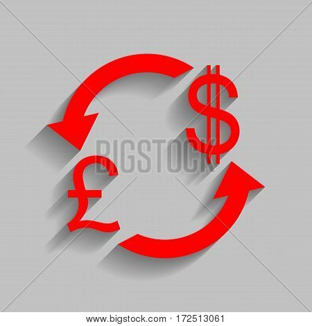 Currency exchange sign. UK: Pound and US Dollar. Vector. Red icon with soft shadow on gray background.