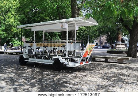 STOCKHOLM, SWEDEN - JUNE 28, 2016: This machine is one way to take a fun tour of the city.
