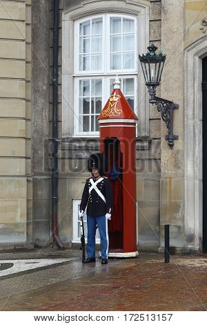 COPENHAGEN, DENMARK - JUNE 29, 2016: This is one of the guards near the Amalienborg Castle.