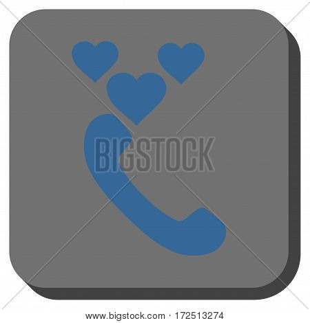 Love Phone Call interface icon. Vector pictograph style is a flat symbol in a rounded square button cobalt blue and gray colors.