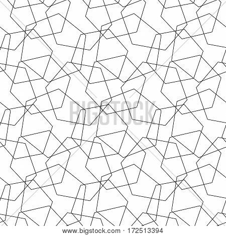 Abstract vector seamless pattern mosaic of wire hexagons outlines on white background. Simple retro design wallpaper.