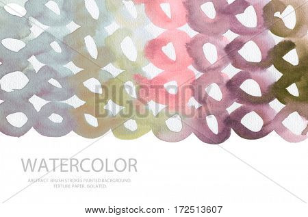 Abstract watercolor circle painted background. Texture paper. Isolated. Business card template.