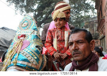 HARIDWAR, INDIA - JAN 14, 2009: Unidentified local people during traditional Indian Hindu wedding. India celebrates about 10 million weddings per year, of which about 80% are Hindu weddings.