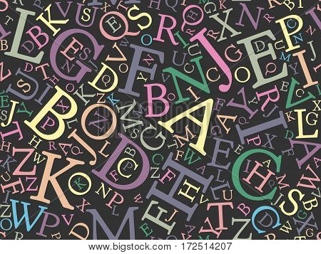 Seamless background pattern mosaic of multicolored letters on dark blackboard background. Simple flat vector illustration.