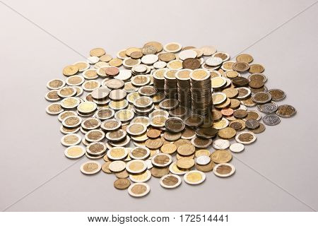 Saving coins money concept.coins money collect foe save on isolate background with copy space.