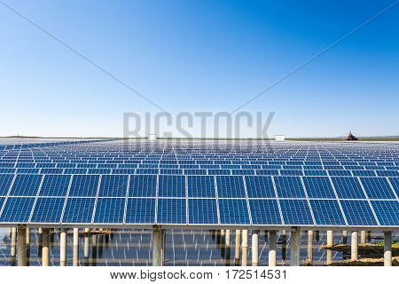 solar energy in prairie under the sunny sky clean energy background