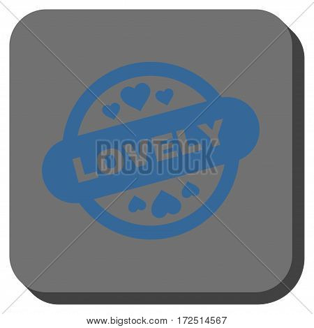 Lovely Stamp Seal rounded button. Vector pictogram style is a flat symbol on a rounded square button cobalt blue and gray colors.