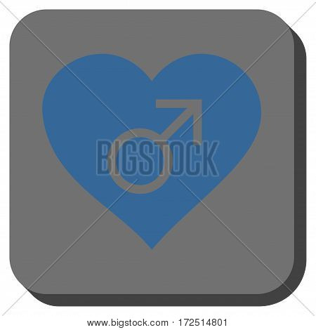 Male Love Heart interface toolbar button. Vector pictograph style is a flat symbol in a rounded square button cobalt blue and gray colors.