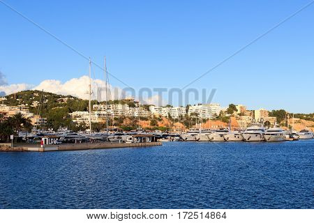 Yacht Marina At Harbour Puerto Portals In Portals Nous And Mediterranean Sea, Majorca, Spain