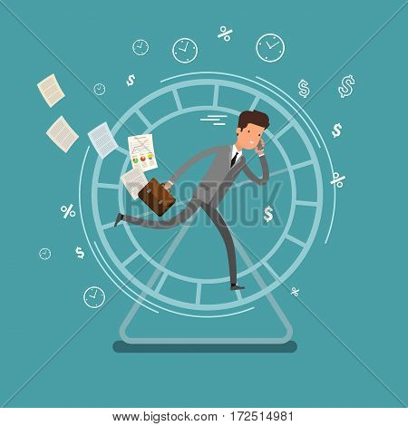 Concept of busy business people. Businessman running in a hamster wheel. Flat design, vector illustration.