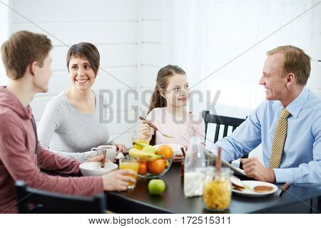 Modern family having sustainable food for breakfast