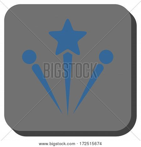 Salute Fireworks interface toolbar button. Vector pictograph style is a flat symbol centered in a rounded square button cobalt blue and gray colors.