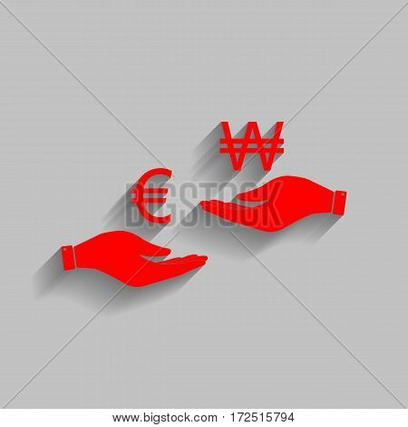 Currency exchange from hand to hand. Euro and Won. Vector. Red icon with soft shadow on gray background.