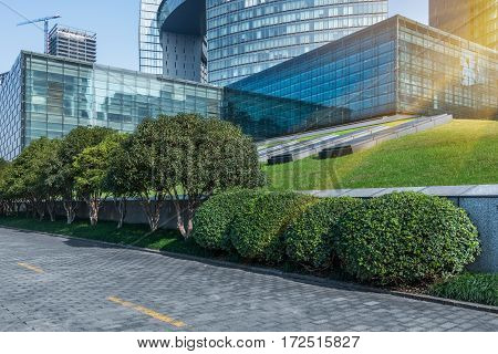 modern office block area with green lawn in Shenzhen,China.