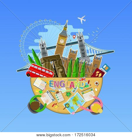 Concept of travel or studying English. English flag with landmarks in the office. Flat design, vector illustration