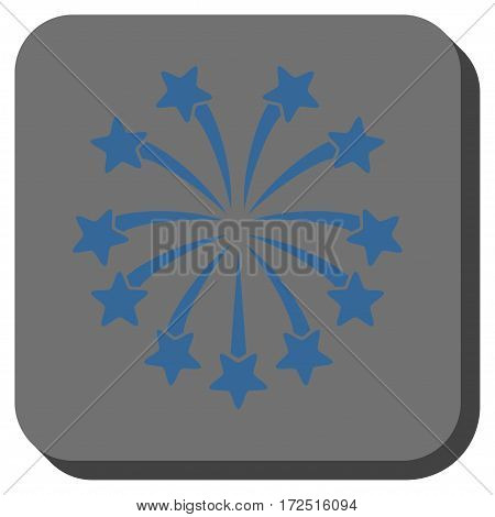 Spherical Fireworks toolbar button. Vector pictogram style is a flat symbol on a rounded square button cobalt blue and gray colors.