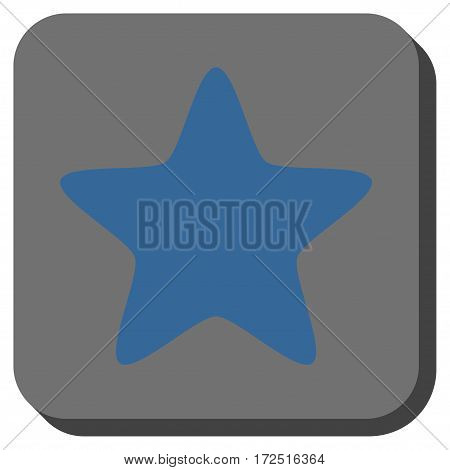 Star interface toolbar icon. Vector pictogram style is a flat symbol on a rounded square button cobalt blue and gray colors.