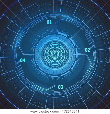 Futuristic Technology Background or Wallpaper Round Radar Screen Target Concept. Vector illustration