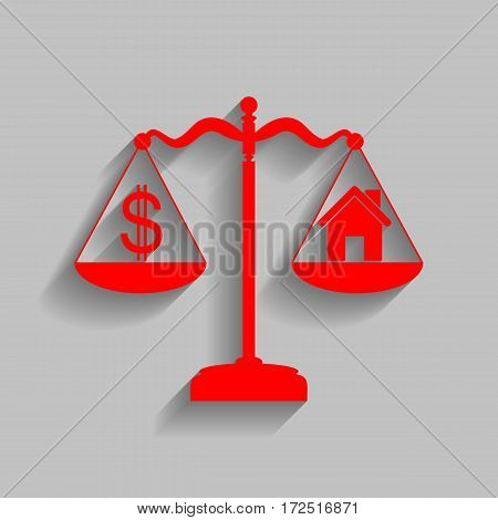 House and dollar symbol on scales. Vector. Red icon with soft shadow on gray background.