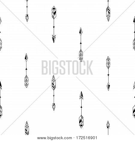 Seamless hand drawn geometric tribal pattern with arrows. Vector aztec design illustration.