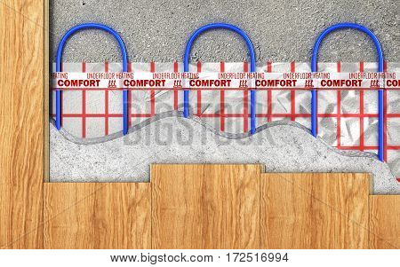 Heating concept. Underfloor heating. Layers of heating floor in the room. 3d illustration