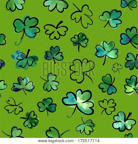 A seamless background pattern with hand drawn vector, watercolour and ink shamrocks on green