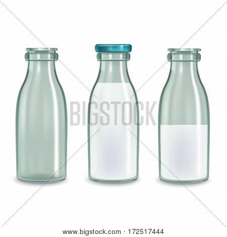 Realistic Transparent Glass Milk Bottle Set Fresh Healthy Natural Drink Container Concept. Vector illustration