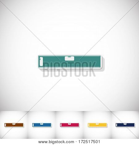 Spirit level. Flat sticker with shadow on white background. Vector illustration