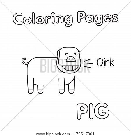 Cartoon pig illustration. Vector coloring book pages for children