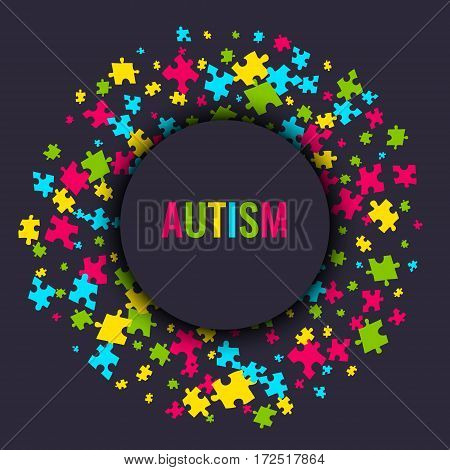 Autism awareness poster with puzzle pieces in a circle on dark background. Solidarity and support symbol. Medical concept. Vector illustration.