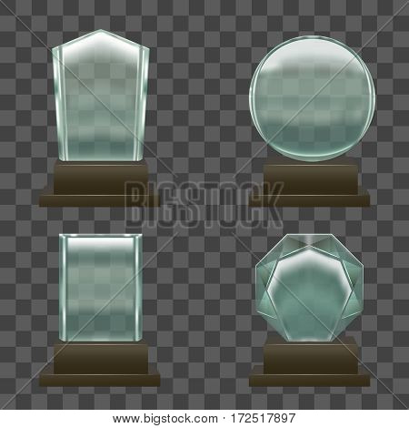 Realistic Glass or Crystal Prizes Set on Transparent Background Symbol of Victory. Vector illustration