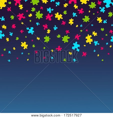 Autism awareness poster with falling puzzle pieces on blue background. Solidarity and support symbol. Medical concept. Vector illustration.