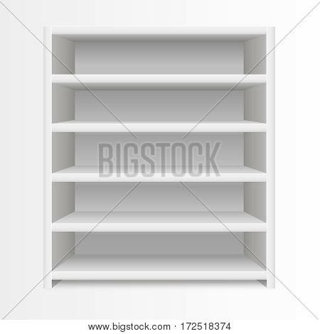 Realistic Template Blank White Shelves Empty Design Element Furniture for Interior. Vector illustration
