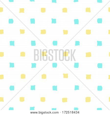 Blue and yellow paint squares background. Vector hand drawn seamless pattern
